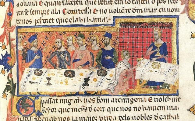 Banquete de Jaume I con Pere Martell para la conquista de Mallorca - Crónica del siglo XIV.